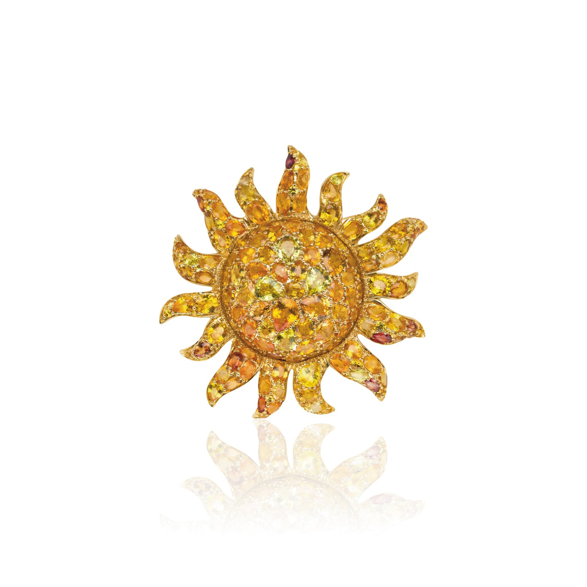 View full screen - View 1 of Lot 27. ORANGE AND YELLOW SAPPHIRE PENDANT, MICHELE DELLA VALLE.