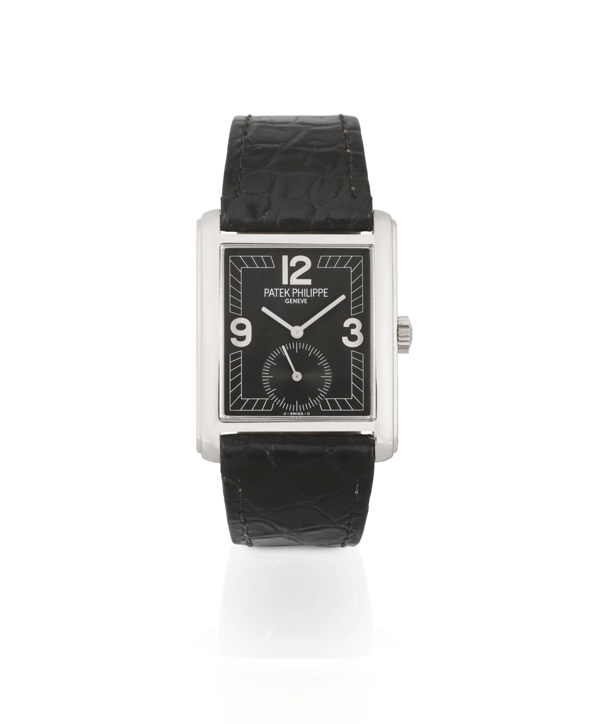 View full screen - View 1 of Lot 162. PATEK PHILIPPE   GONDOLO, RECTANGULAR WHITE GOLD WRISTWATCH, MADE IN 1998 [GONDOLO, MONTRE RECTANGULAIRE EN OR BLANC].