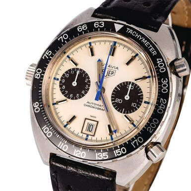 View 1. Thumbnail of Lot 18. HEUER | Autavia, Ref. 1163, A Stainless Steel Chronograph Wristwatch, Circa early 1970s.