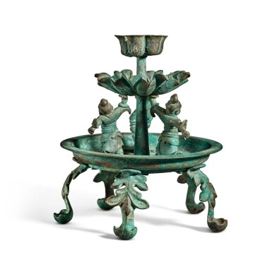 View 4. Thumbnail of Lot 101. A bronze oil lamp, Tang dynasty | 唐 銅天王花式五足燈.