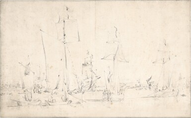 View 1. Thumbnail of Lot 102. English vessels becalmed.