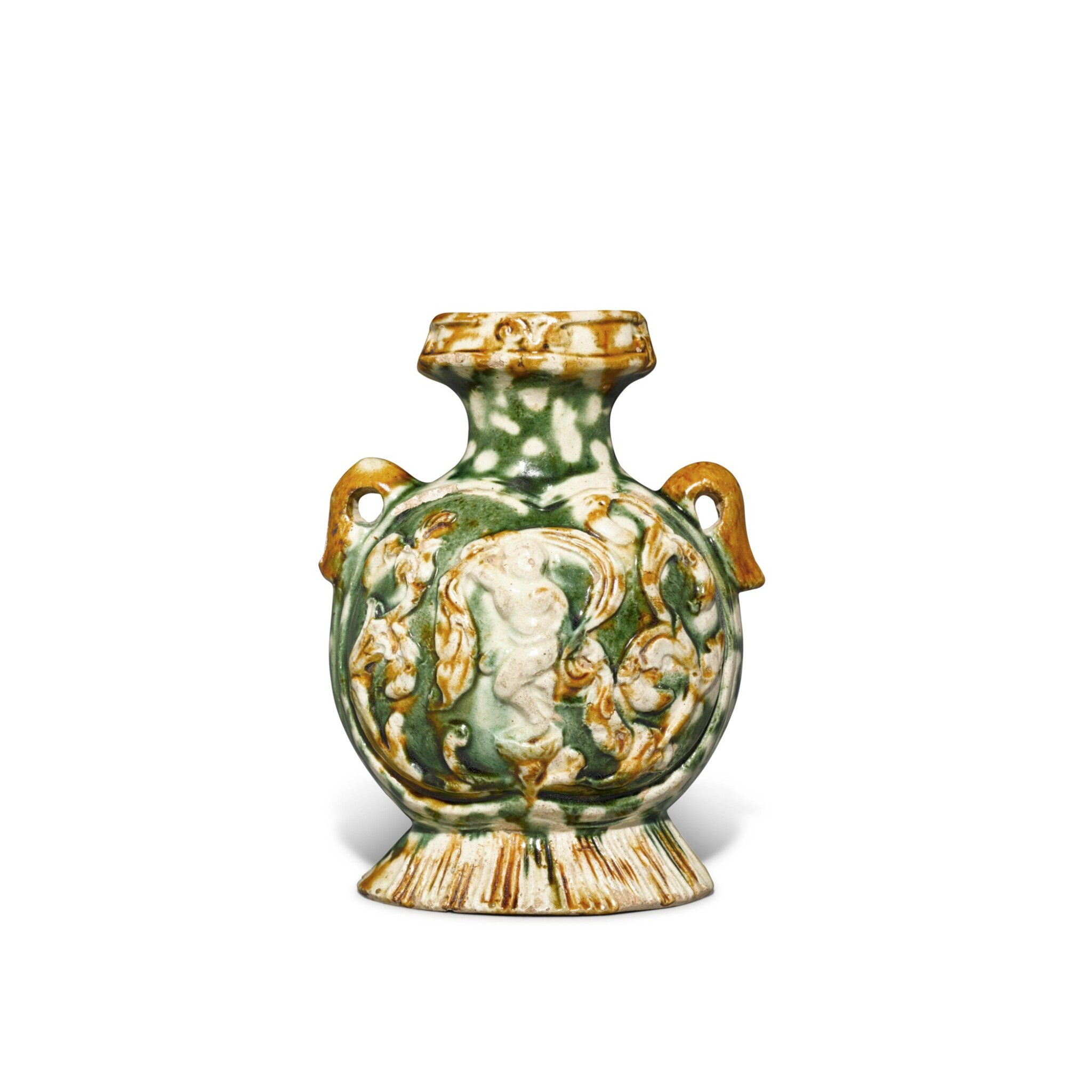 View full screen - View 1 of Lot 171. A molded sancai-glazed pottery pilgrim's flask, Tang dynasty | 唐 三彩印樂舞圖扁壺.