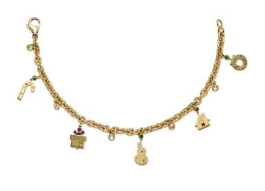 View 2. Thumbnail of Lot 1433. GIMEL   GOLD, GEM SET AND DIAMOND CHARM BRACELET   Gimel   18K黃金 配 寶石 及 鑽石 手鏈.