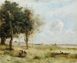 Landscapes with peasants, a fisherman beyond