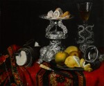 Still life with a façon de venise serpent-stemmed wine glass, a silver vessel, a block of sugar and lemons on a pewter plate, all on a draped table