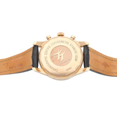 View 5. Thumbnail of Lot 69. Breitling Transocean Chronograph Unitime reference RB0510 A pink gold automatic chronograph worldtime wristwatch with date, circa 2012.