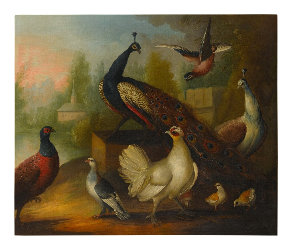 ATTRIBUTED TO MARMADUKE CRADOCK   PEACOCKS, CHICKENS AND OTHER BIRDS IN A RIVER LANDSCAPE