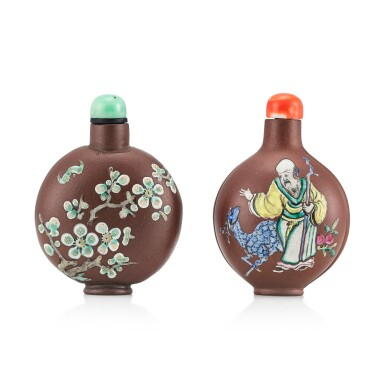 View 1. Thumbnail of Lot 3077. Two Yixing Slip-Decorated Snuff Bottles Qing Dynasty, 19th Century | 清十九世紀 宜興紫砂堆料加彩鼻煙壺兩件.