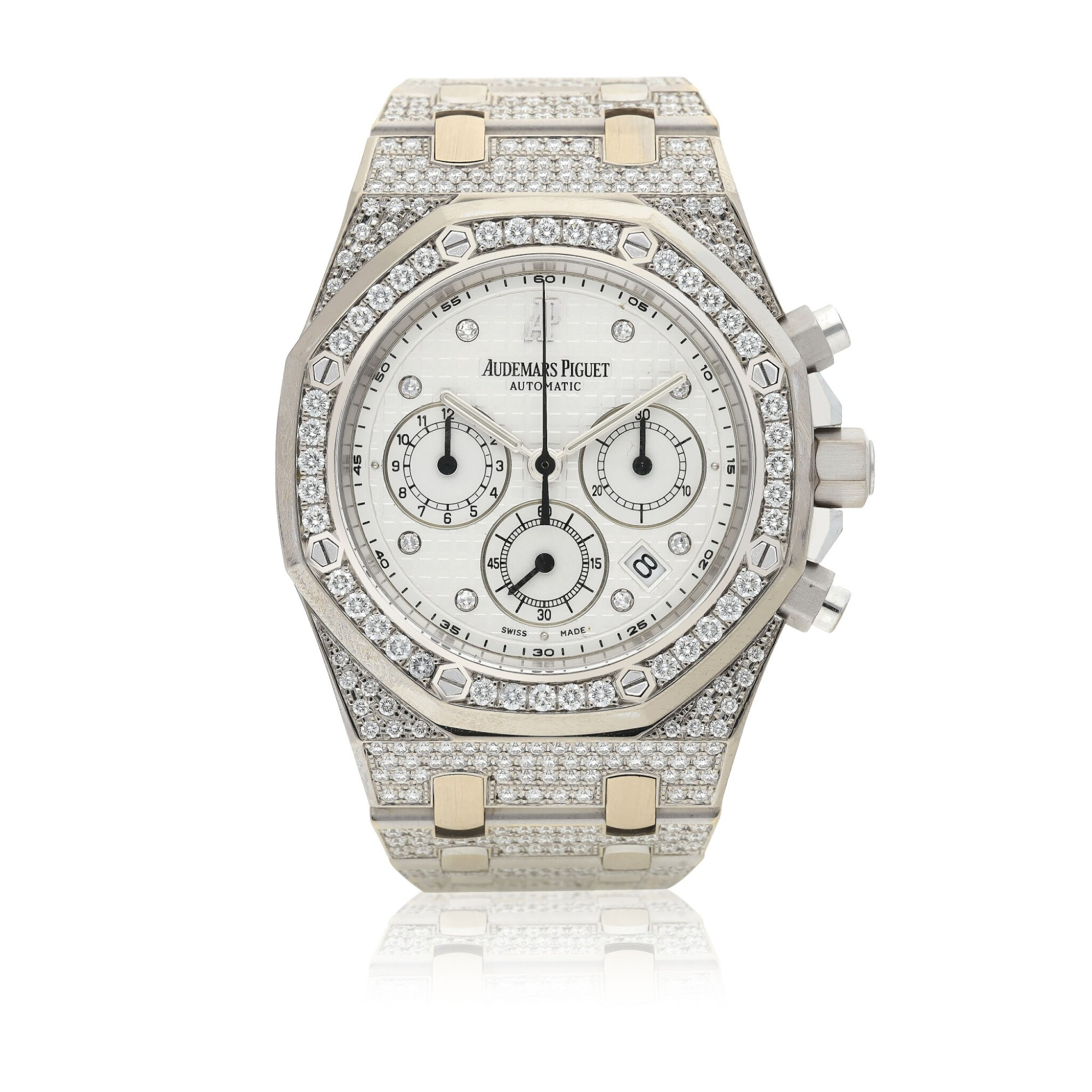 View full screen - View 1 of Lot 3. AUDEMARS PIGUET   REF 25967 ROYAL OAK, A WHITE GOLD AND DIAMOND-SET AUTOMATIC CHRONOGRAPH WRISTWATCH WITH DATE AND BRACELET CIRCA 2010.
