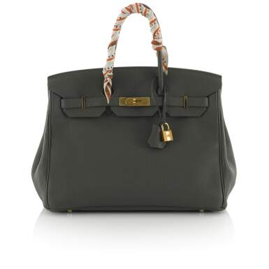 View 1. Thumbnail of Lot 34. Vert Cypress Birkin 35cm in Togo Leather with Gold Hardware, 2012.