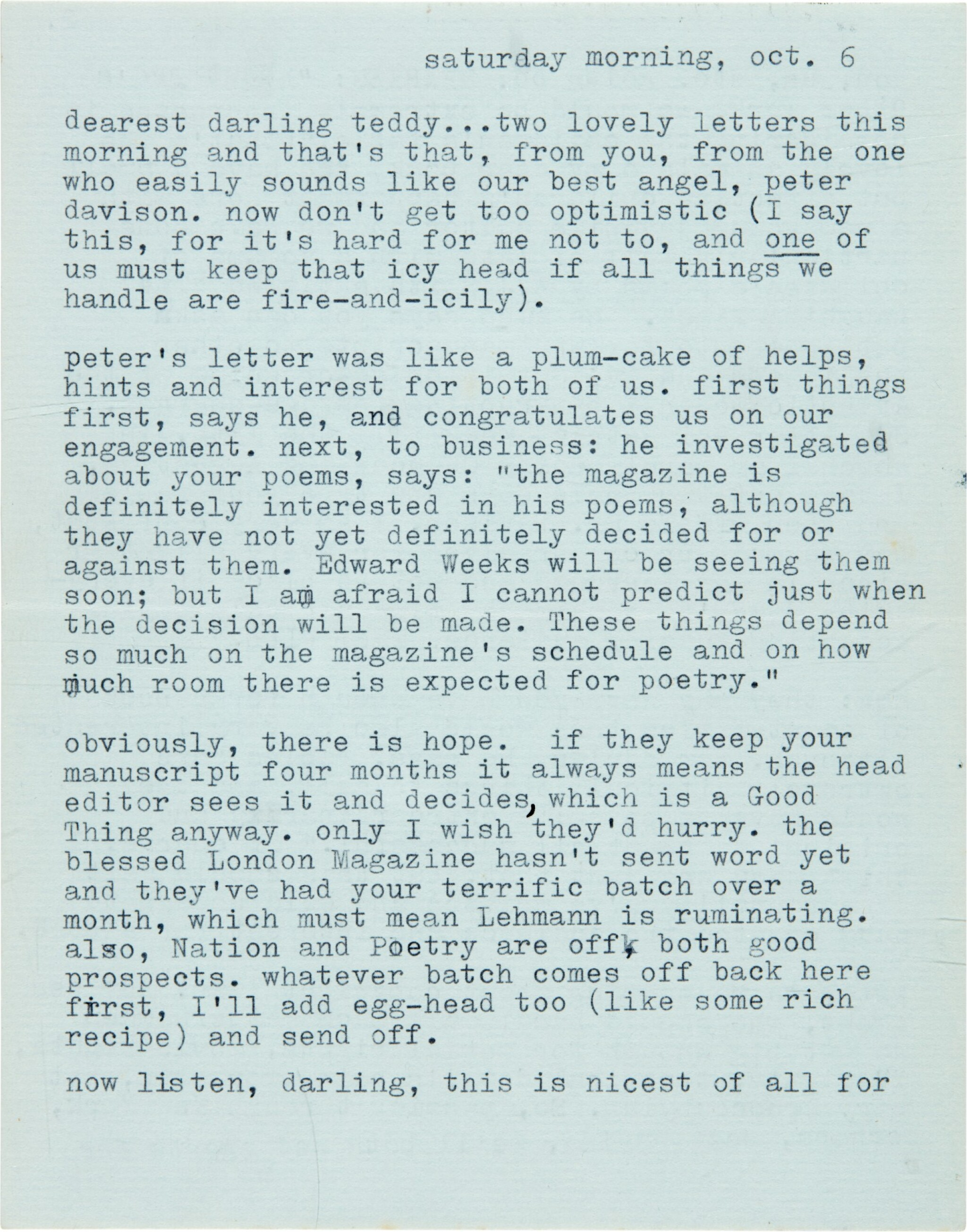 View full screen - View 1 of Lot 10. Sylvia Plath   Typed letter signed, to Ted Hughes, discussing their poetry, 6 October 1956.