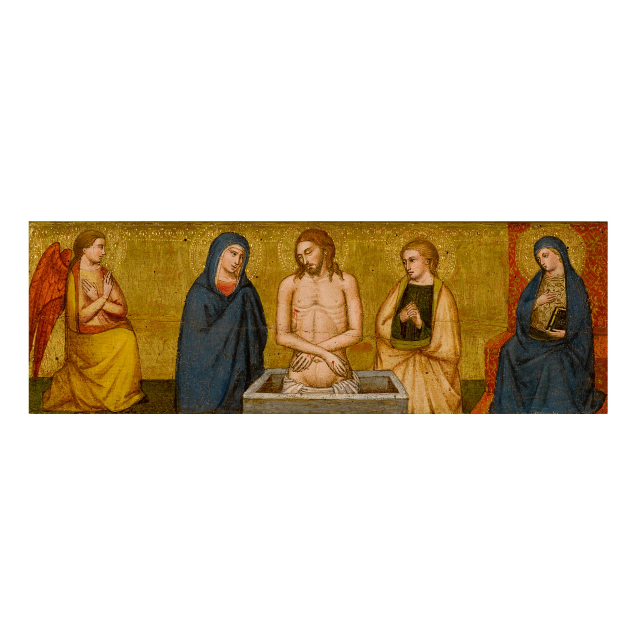 View full screen - View 1 of Lot 11. Sold Without Reserve | MASTER OF THE LAZZARONI MADONNA | VIR DOLORUM BETWEEN THE VIRGIN AND SAINT JOHN THE EVANGELIST; ON EITHER SIDE, THE ANNUNCIATE ANGEL AND VIRGIN.