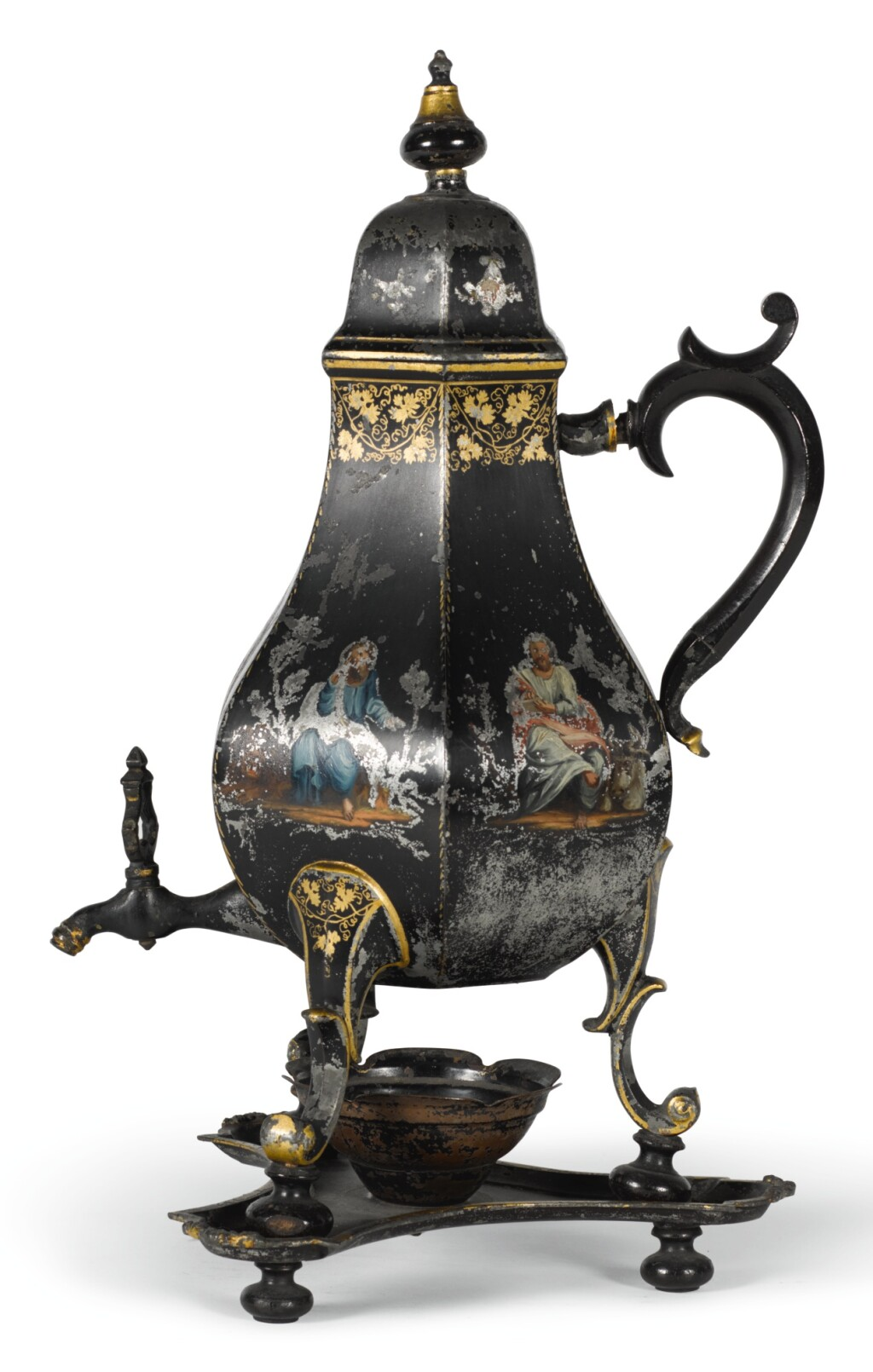 A TÔLE PEINTE HOTWATER URN AND STAND, NORTH GERMAN OR DUTCH, LATE 18TH/EARLY 19TH CENTURY