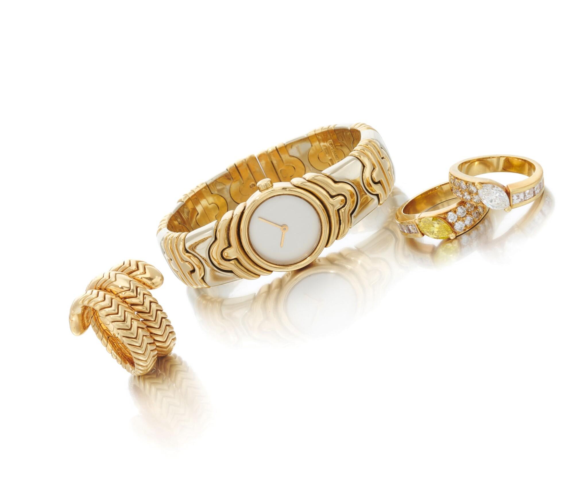 View 1 of Lot 107. 'Parentesi' bracelet-watch and 'Spiga' ring, Bulgari, and two diamond rings (Orologio da polso 'Parentesi' e anello 'Spiga', Bulgari, e due anelli in diamanti).