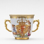 An extremely rare Meissen armorial two-handled beaker from the service made for Elizabeth Farnese, Queen of Spain, Circa 1737