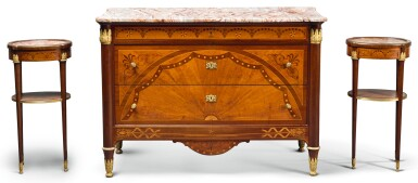 A SUITE OF NEOCLASSICAL STYLE GILT-BRONZE MOUNTED MAHOGANY AND SATINWOOD MARQUETRY FURNITURE 20TH CENTURY