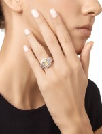 FANCY YELLOW DIAMOND AND DIAMOND RING, MICHAEL BEAUDRY
