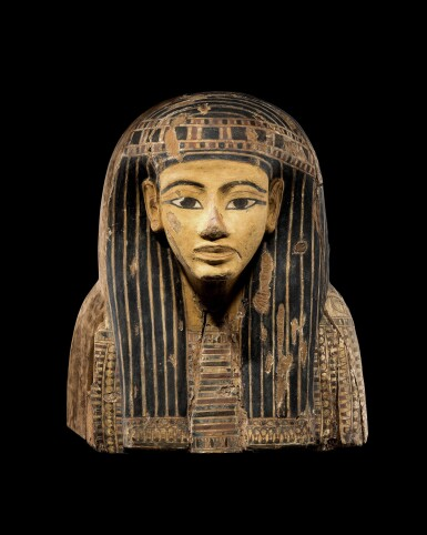 View 1. Thumbnail of Lot 61. The Upper Part of an Egyptian Polychrome Wood Sarcophagus, 21st/early 22nd Dynasty, circa 1075-950 B.C..