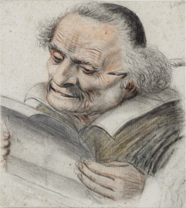 View 1. Thumbnail of Lot 24. A cleric reading a letter, a quill behind his ear.