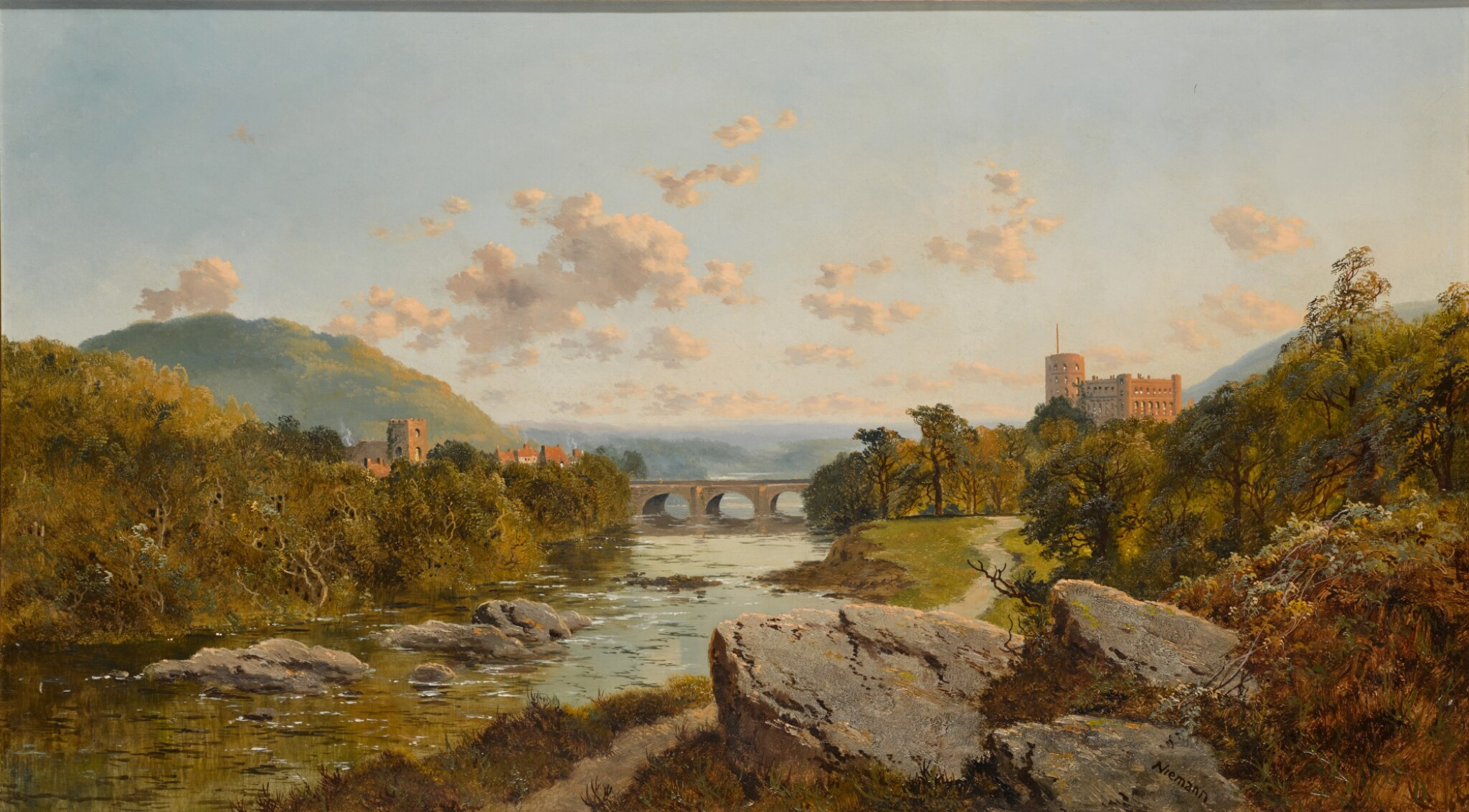 View full screen - View 1 of Lot 221. EDWARD H. NIEMANN | A landscape with Richmond Castle on the river Swale, Yorkshire.