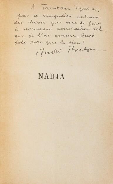 View 5. Thumbnail of Lot 220. Nadja. Exemplaire de Tzara. Magistrale et iconique reliure de Jean de Gonet. Joint: 2 lettres.