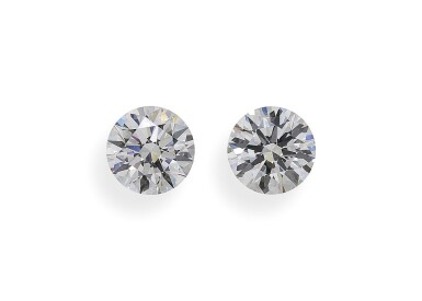 A Pair of 1.67 and 1.52 Carat Round Diamonds, D Color, VS2 Clarity