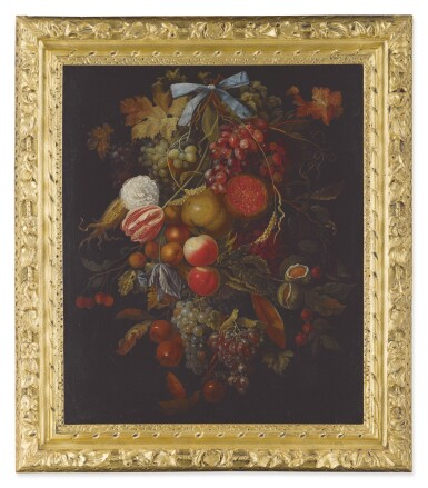 View 2. Thumbnail of Lot 8. CIRCLE OF JACOB ROTIUS | STILL LIFE OF A HANGING BOUGH OF FRUIT AND FLOWERS INCLUDING GRAPES, PEACHES, FIGS, CORN, POMEGRANATES, CARNATIONS, AND TULIPS.