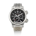 JAEGER-LECOULTRE  |  MASTER COMPRESSOR GEOGRAPHIC, REFERENCE 146.8.83,  A STAINLESS STEEL WORLD TIME WRISTWATCH WITH DATE, DAY AND NIGHT INDICATION AND BRACELET, CIRCA 2008