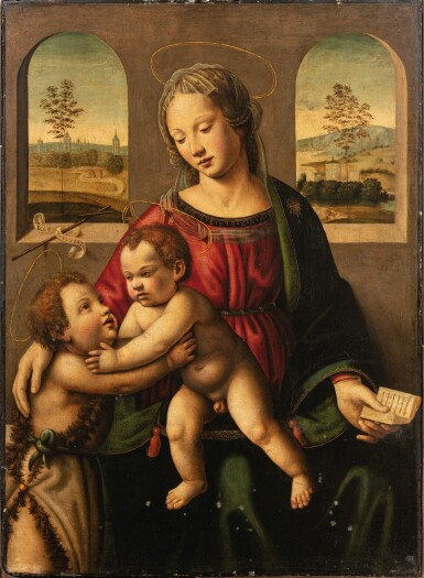View 1. Thumbnail of Lot 8. The Virgin and Child with Saint John the Baptist.