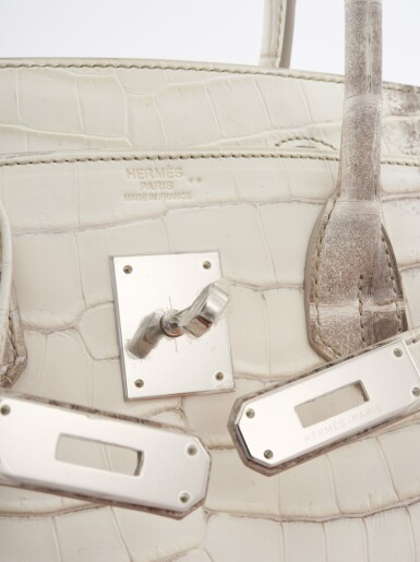View 6. Thumbnail of Lot 51. A matte Niloticus Crocodile and palladium hardware, Himalaya Birkin 30, Hermès, 2015.