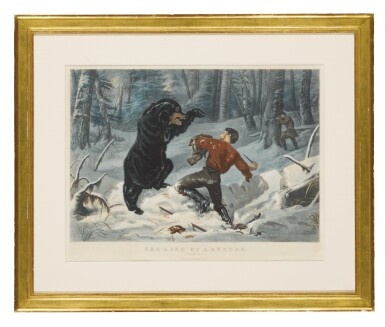 """View 1. Thumbnail of Lot 1762. CURRIER & IVES (PUBLISHERS)   THE LIFE OF A HUNTER: """"A TIGHT FIX"""" (GALE 3790)."""