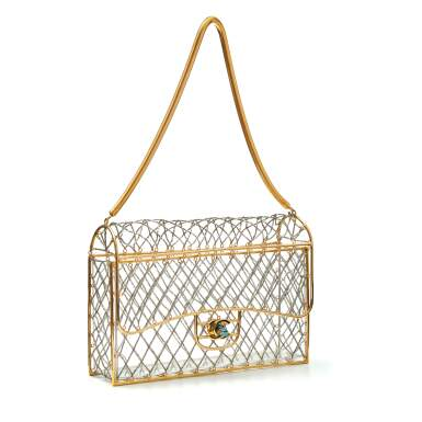 View 2. Thumbnail of Lot 359. Clear Cage Bag in Lucite with Beading, Gold Tone Frame and Chain Strap, circa 1990s.