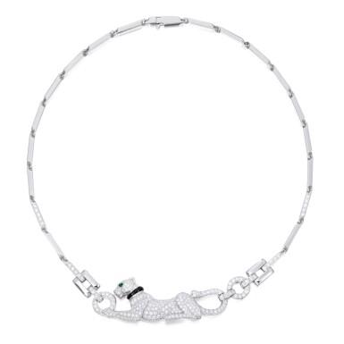 DIAMOND, ONYX AND EMERALD 'DAME À LA PANTHÈRE' NECKLACE, CARTIER, FRANCE | 鑽石配縞瑪瑙及祖母綠「Dame à la Panthère」項鏈,卡地亞