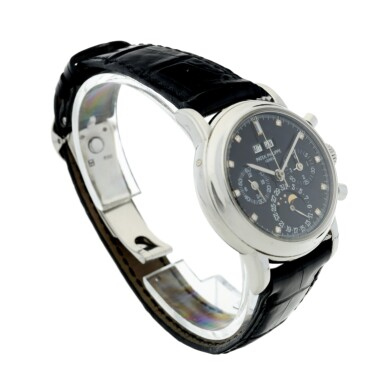 View 4. Thumbnail of Lot 41. REFERENCE 3970P A PLATINUM AND DIAMOND-SET PERPETUAL CALENDAR CHRONOGRAPH WRISTWATCH WITH MOON PHASES AND LEAP YEAR INDICATION, MADE IN 1996.