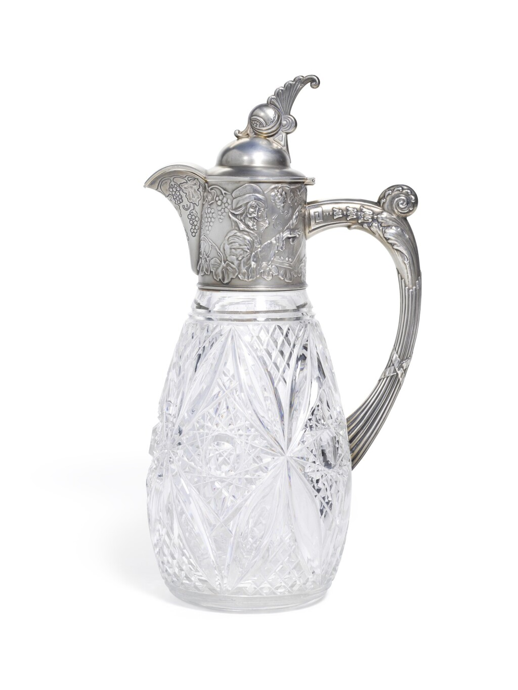 A LARGE SILVER-MOUNTED CUT-GLASS DECANTER, MIKHAIL TARASOV, MOSCOW, 1908-1917