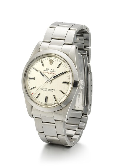 View 2. Thumbnail of Lot 7. ROLEX   MILGAUSS, REFERENCE 1019, A STAINLESS STEEL ANTIMAGNETIC WRISTWATCH WITH BRACELET, CIRCA 1970.