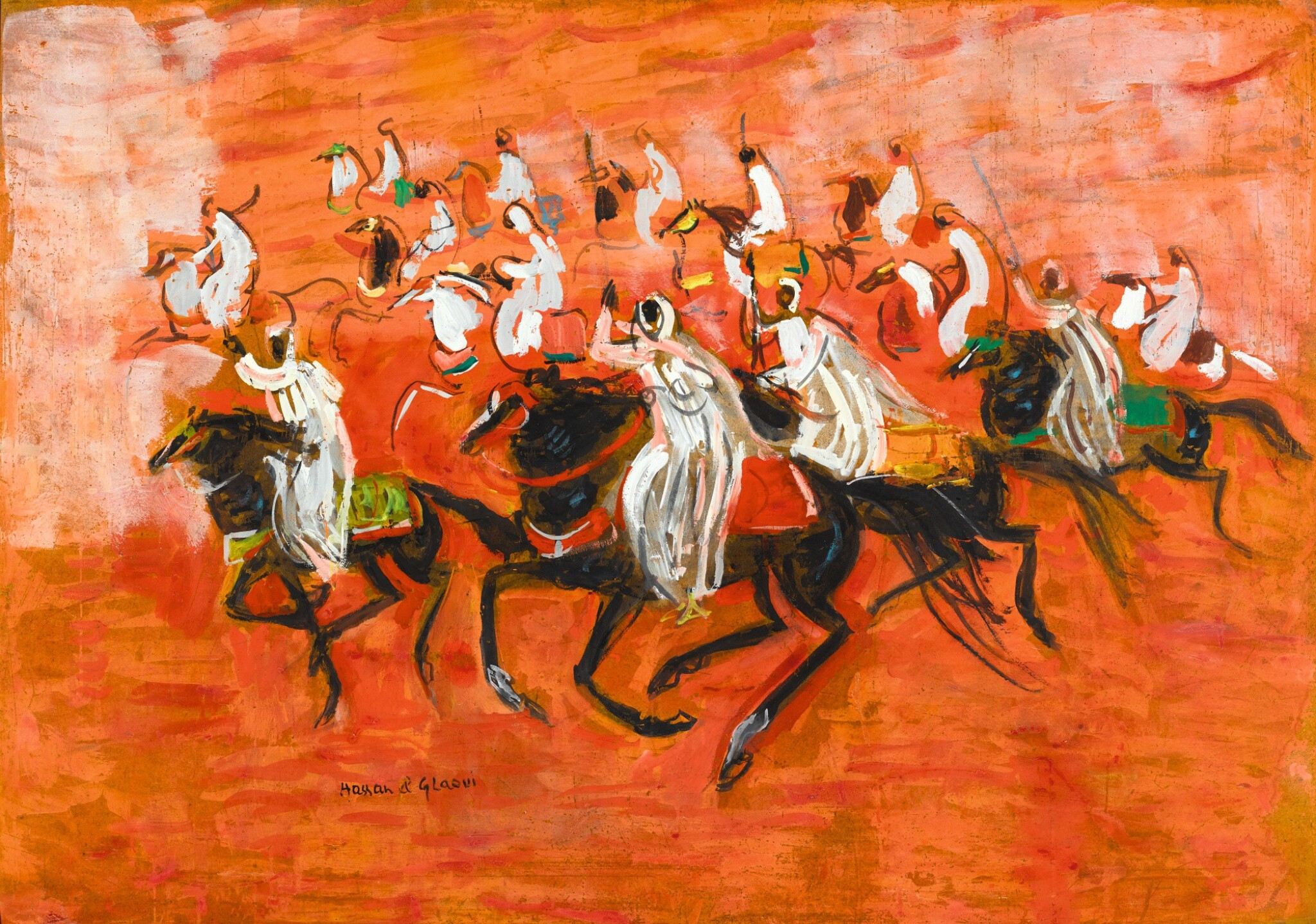 View full screen - View 1 of Lot 57. HASSAN EL GLAOUI | FOURTEEN RIDERS.