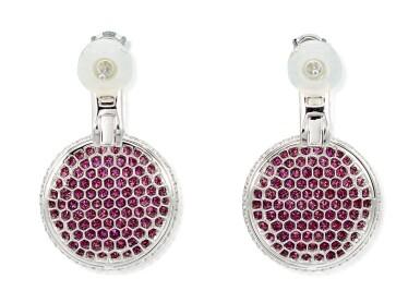 View 3. Thumbnail of Lot 1036. 'Wave' Pair of Ruby and Diamond Pendent Earrings | 格拉夫| 'Wave' 紅寶石 配 鑽石 耳墜一對 (紅寶石及鑽石共重約4.50及6.80克拉).
