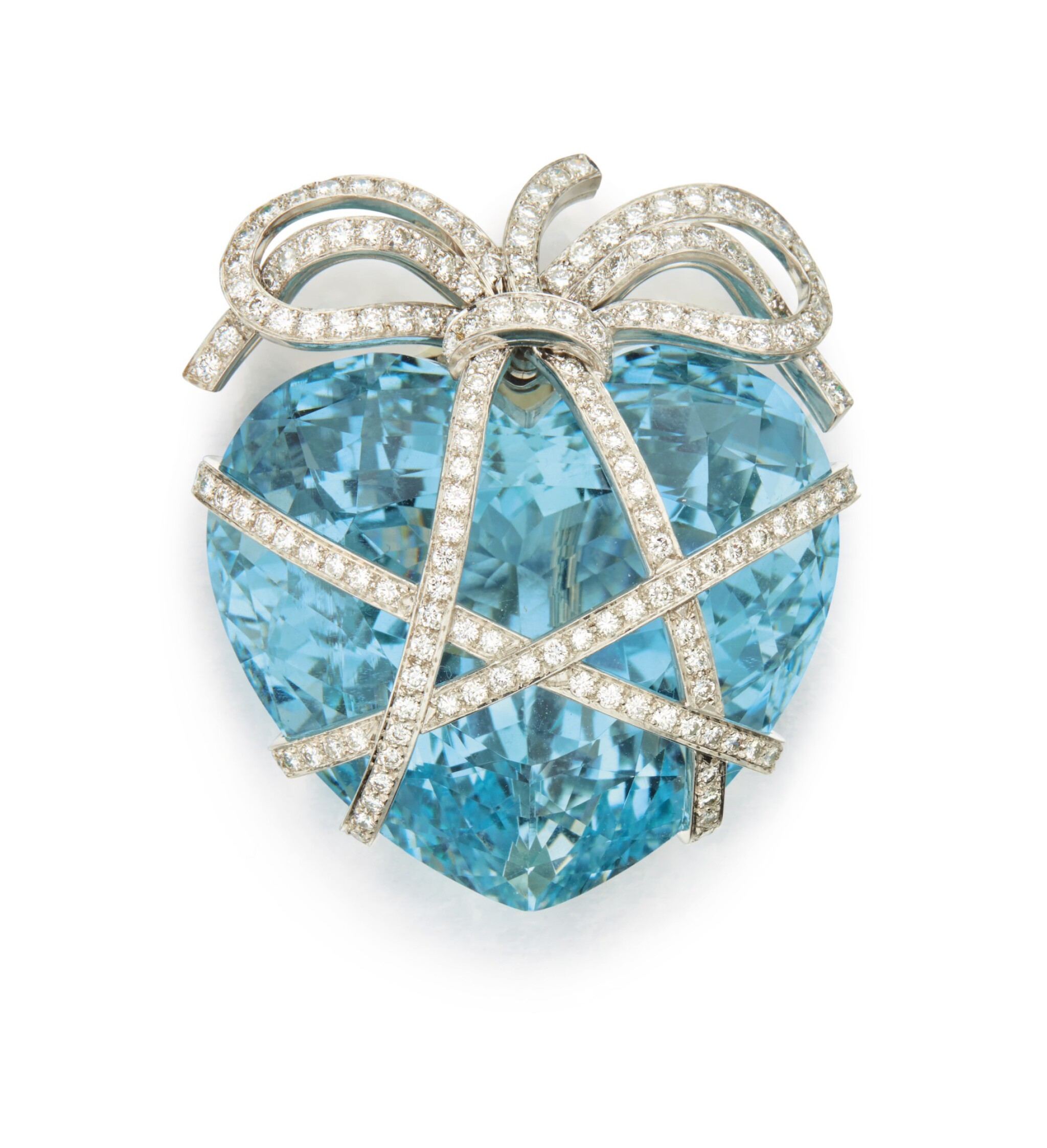View full screen - View 1 of Lot 336. AQUAMARINE AND DIAMOND 'WRAPPED HEART' BROOCH, VERDURA .