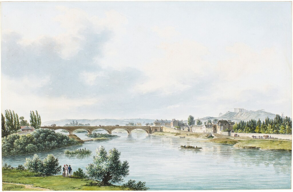 FÉLIX MARIE FERDINAND STORELLI   VIEW OF  THE BRIDGE OVER THE SEINE AT NEUILLY, TAKEN FROM THE THE GARDENS OF THE DUC D'ORLÉANS