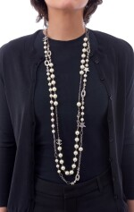 FAUX PEARL AND CRYSTAL LONG CHAIN NECKLACE, CHANEL