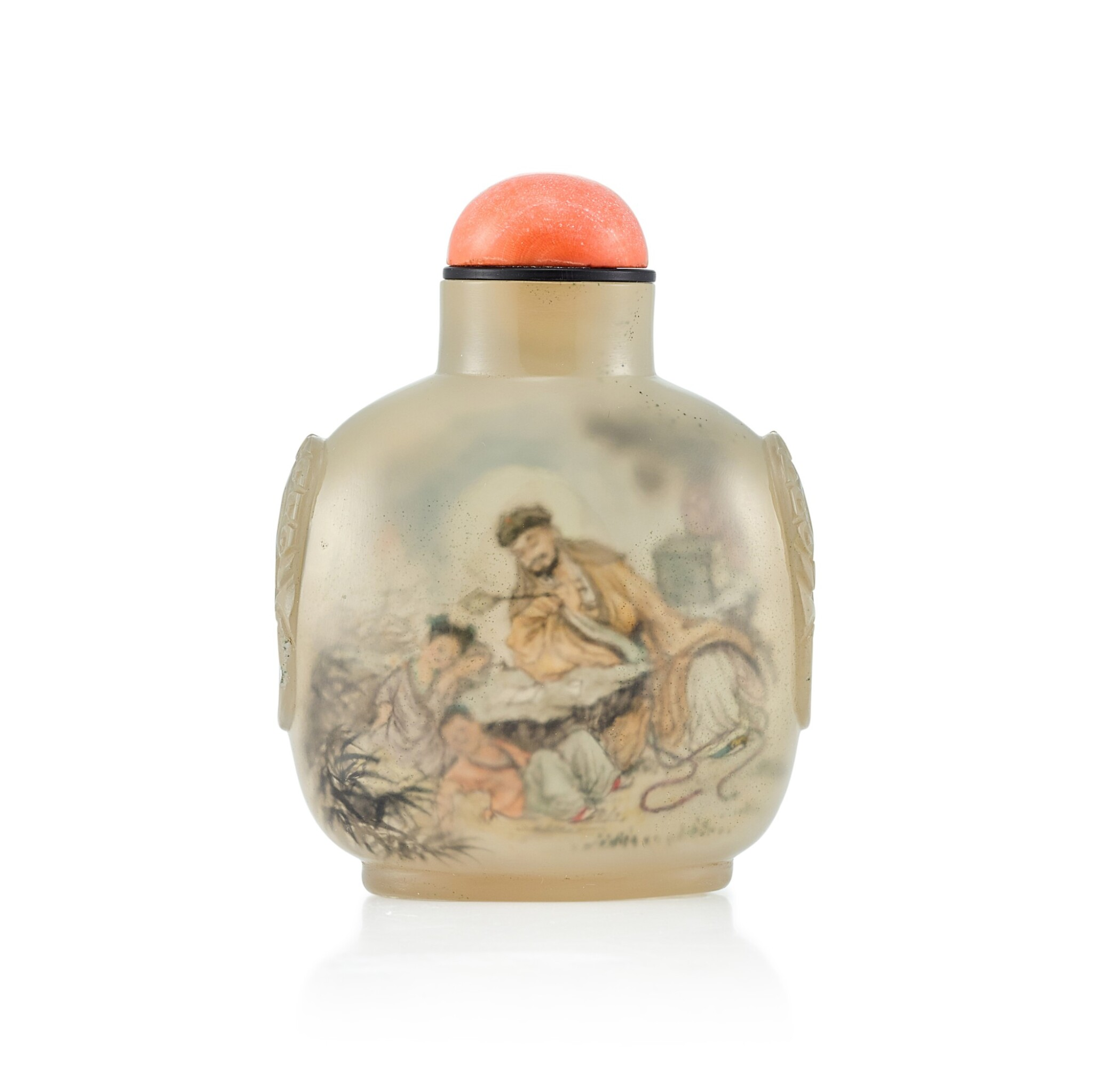 View full screen - View 1 of Lot 3002. An Inside-Painted Agate Snuff Bottle By Wang Xisan, Dated Wuwu Year, Corresponding to 1978 | 戊午(1978年) 王習三作瑪瑙內畫鼻煙壺 《戊午秋月王習三作》款.