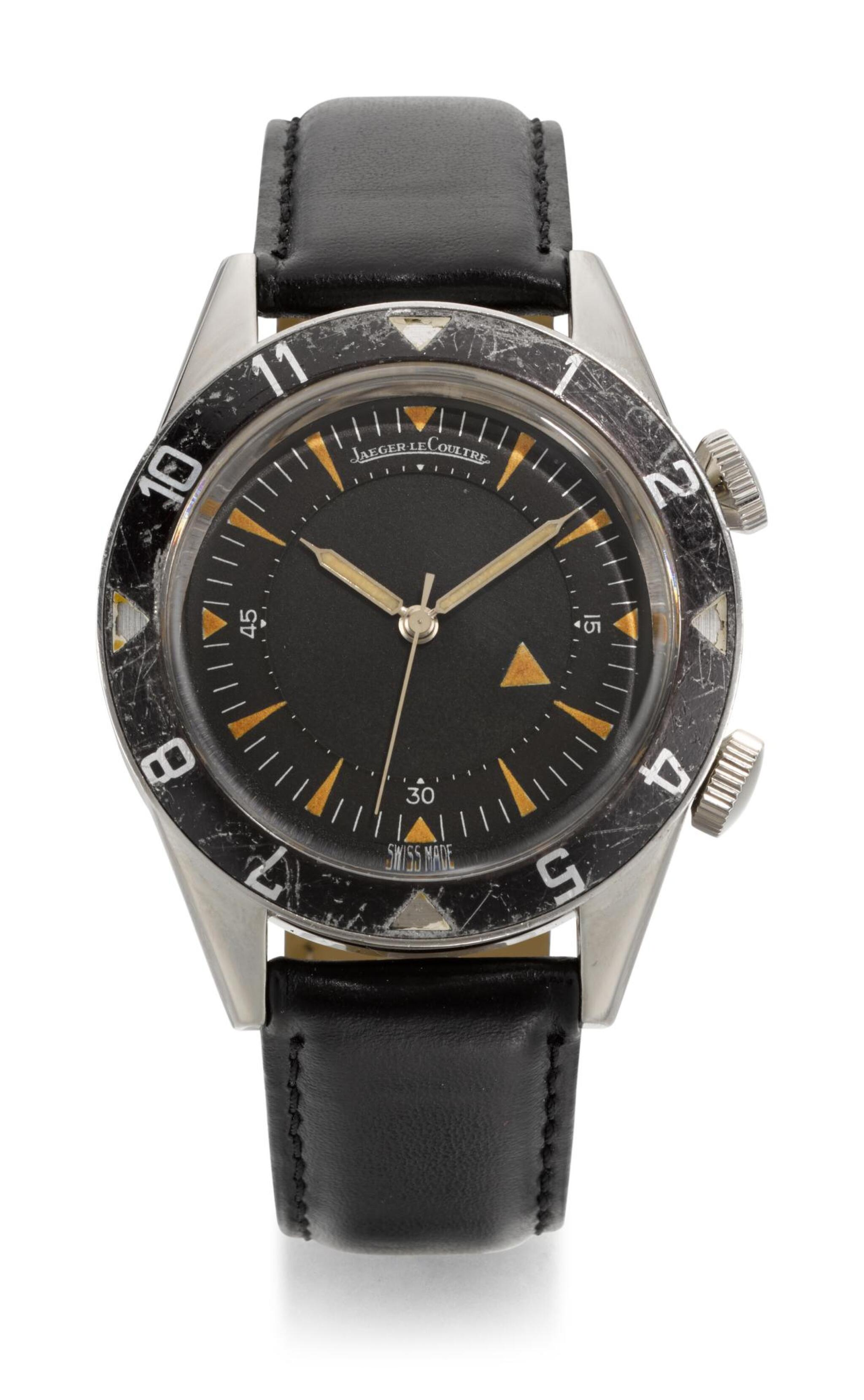 View full screen - View 1 of Lot 9. JAEGER-LECOULTRE | MEMOVOX DEEP SEA, REFERENCE E857,  STAINLESS STEEL WRISTWATCH WITH ALARM,  MADE IN 1959.