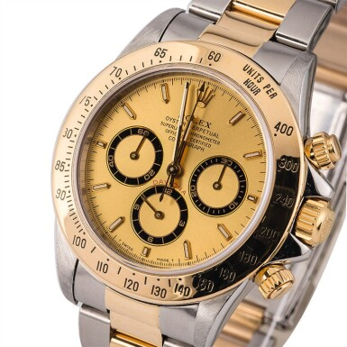 ROLEX | Daytona, Ref. 16523, A Stainless Steel and Yellow Gold Chronograph Wristwatch with Bracelet, Circa 1995