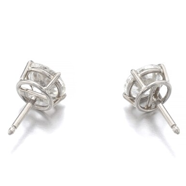 View 3. Thumbnail of Lot 1172. Pair of diamond ear studs.