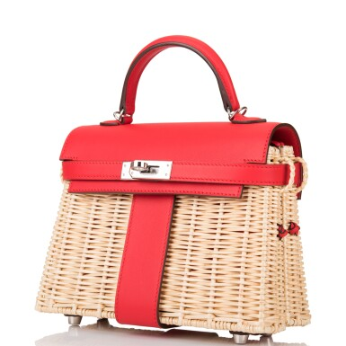 View 5. Thumbnail of Lot 6. Hermès Rouge De Coeur Mini Kelly Picnic Bag of Osier Wicker and Swift Leather.