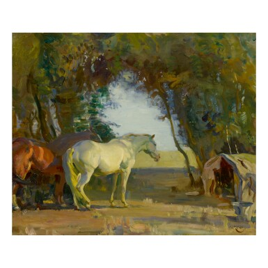 SIR ALFRED JAMES MUNNINGS, P.R.A., R.W.S.   HAMPSHIRE THORN TREES