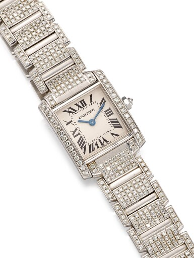 View 4. Thumbnail of Lot 1617. 'Tank Française' Diamond Wristwatch | 卡地亞 | 'Tank Française' 鑽石腕錶.