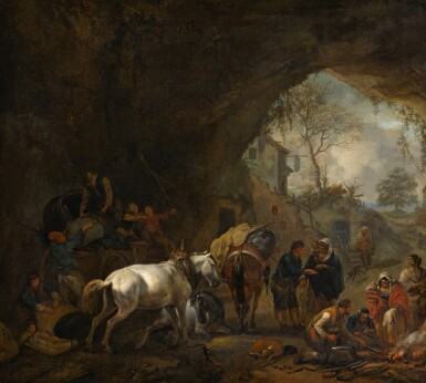 PHILIPS WOUWERMAN    A grotto with travellers unloading a wagon, a gypsy fortune-teller, a blacksmith and other figures