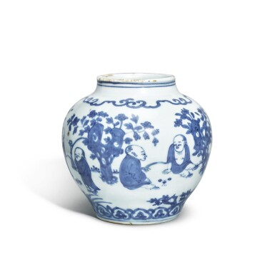 View 2. Thumbnail of Lot 514. A SMALL AND RARE BLUE AND WHITE 'BOYS' JAR,  JIAJING MARK AND PERIOD .